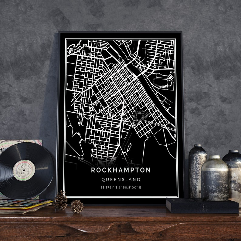 Rockhampton black map | Black white map art | City map poster | Queensland on lae city map, surat city map, melbourne city map, gladstone city map, sydney city map, warwick city map, st george city map, darwin city map, port moresby city map, adelaide city map, perth city map, newcastle city map, canberra city map, cairns city map,