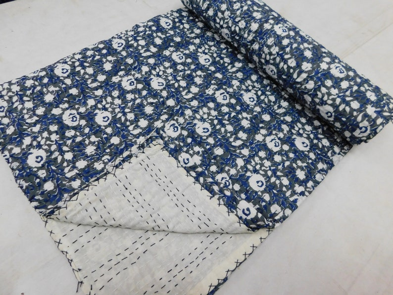 Hand Block Print Queen Size Kantha Quilt reversible Sari Throw Blanket Floral Print Queen Size Ralli Gudri Bed Spread Bedding Sheet