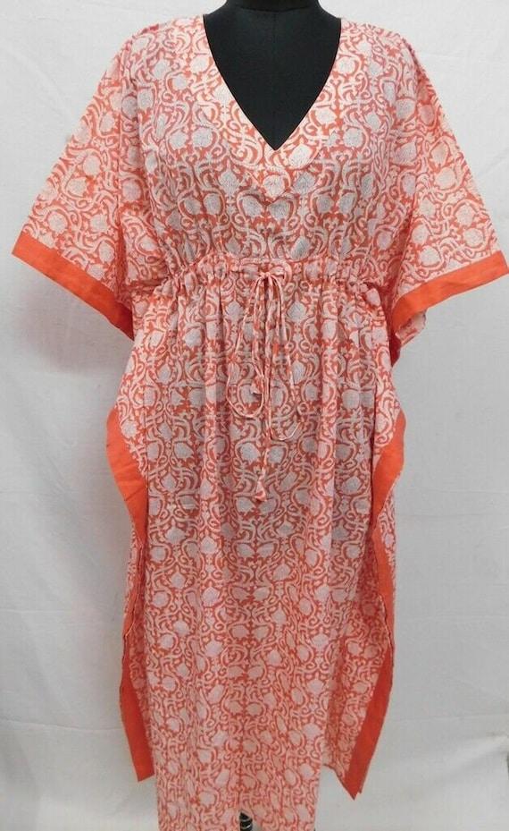 Cotton Indian Indigo Block Print Women Wear Long Kaftan Dress Poncho Boho Maxi