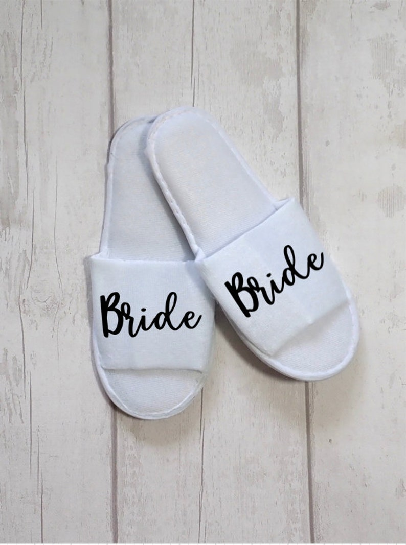 bcf408510c3 Personalised Wedding Slippers, Bridesmaid Slippers, Bride Slippers, Bridal  Party Slippers, Bridesmaid Gift, Hen party slippers, Spa slippers