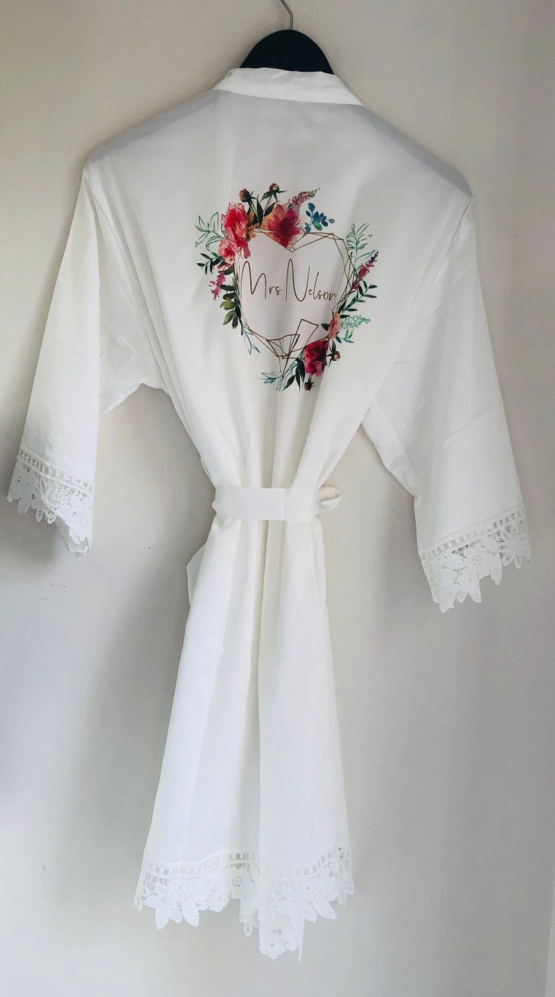 dressing gown childs personalised dressing gown,bridal party robe bridesmaid dressing gown Floral wreath bridal robe flower girl robe