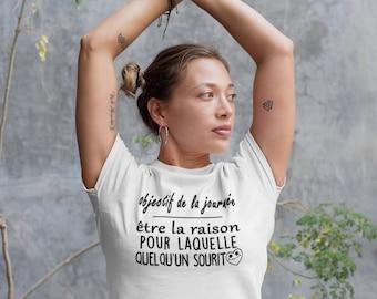 Objectif de la journée - créer un sourire  - T-Shirt à col rond - manches courtes