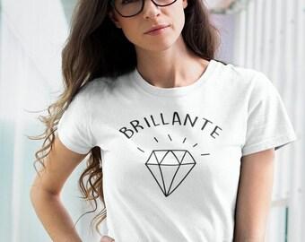 Brillante - T-Shirt à col rond - manches courtes - cadeau femmes