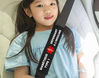 Housse de ceinture de sécurité personnalisable - condition médicales - premiers secours