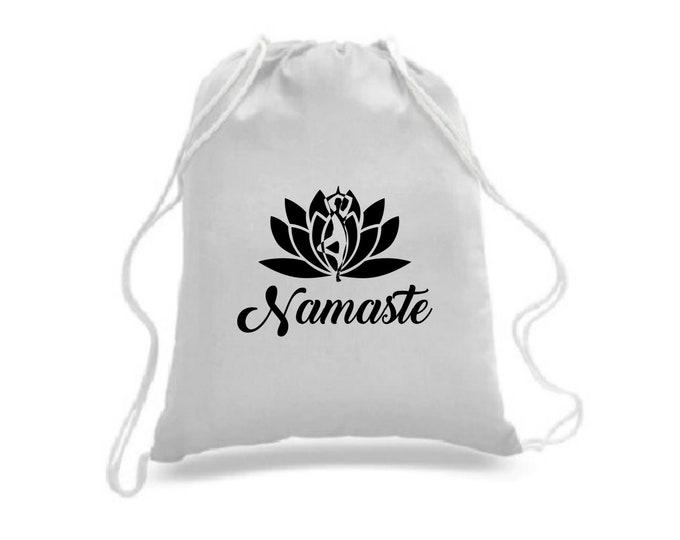 Namaste yoga Sac à cordons / sac à dos / sac four-tout / personnalisable / sac de sport / sac à souliers