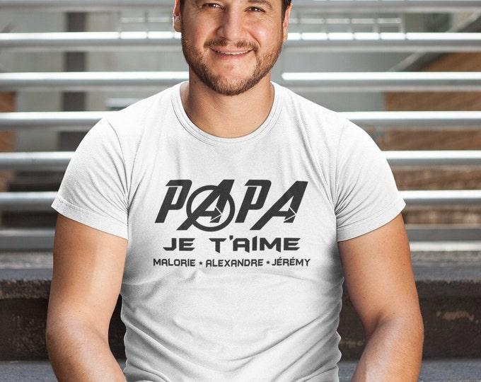 Papa je t'aime - personnalisable - T-Shirt Unisex Ultra Coton - Cadeau fête des pères -