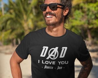 Papa je t'aime - PERSONNALISABLE - - T-Shirt Unisex Ultra Coton - Cadeau fête des pères - super heros