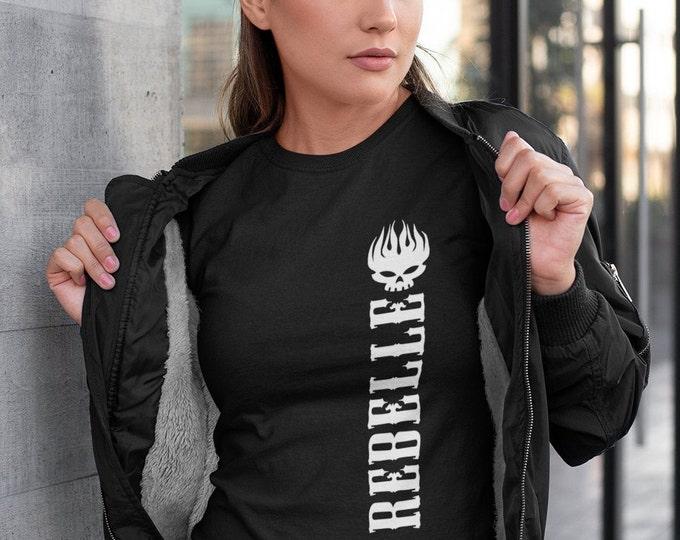 Rebelle - T-Shirt à col rond - manches courtes - cadeau femmes - rebelle - skull