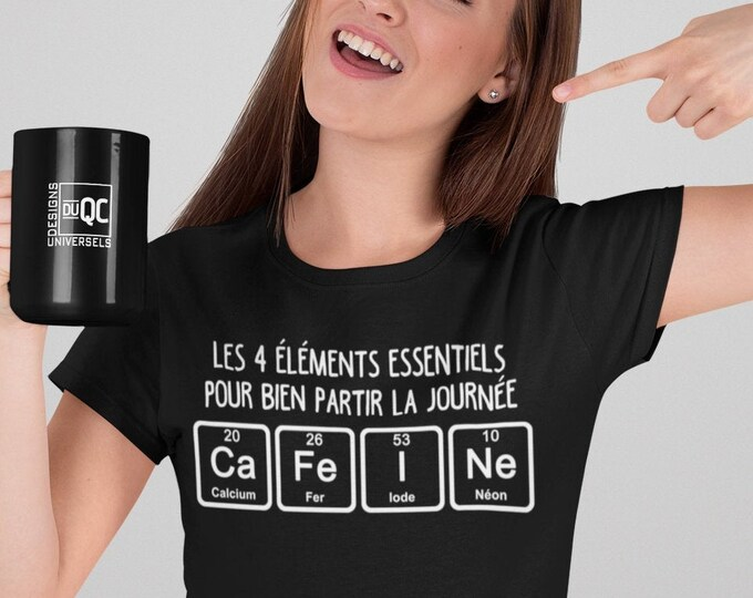 Les 4 éléments pour une bonne journée T-Shirt col rond - café-caféine