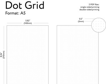 """Printable A5 Dot Grid Paper, A5 Printable Planner Insert, Bullet Journal Download, Dotted Grid Paper, Bujo Inserts - A5 Size 5.82"""" x 8.26"""""""