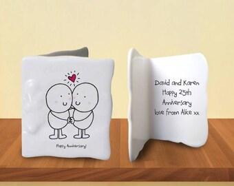 Bone China Anniversary Message Card, Anniversary Gift