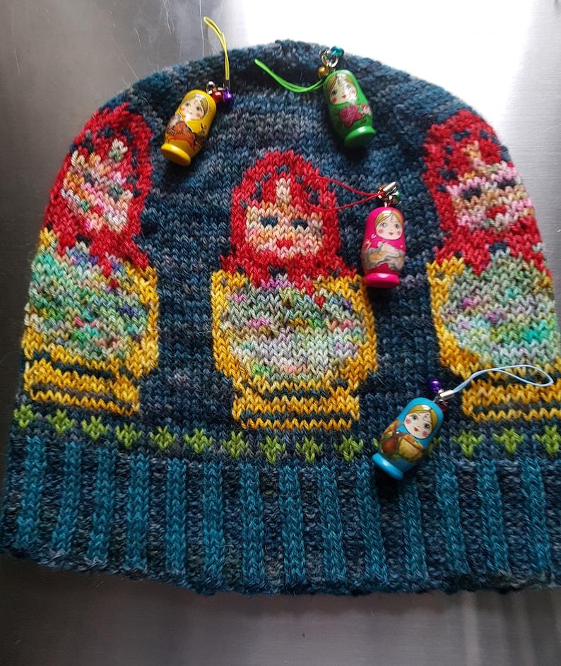 Matrioshka Russian Dolls Fair Isle Hand Knitted Beanie Hat image 4