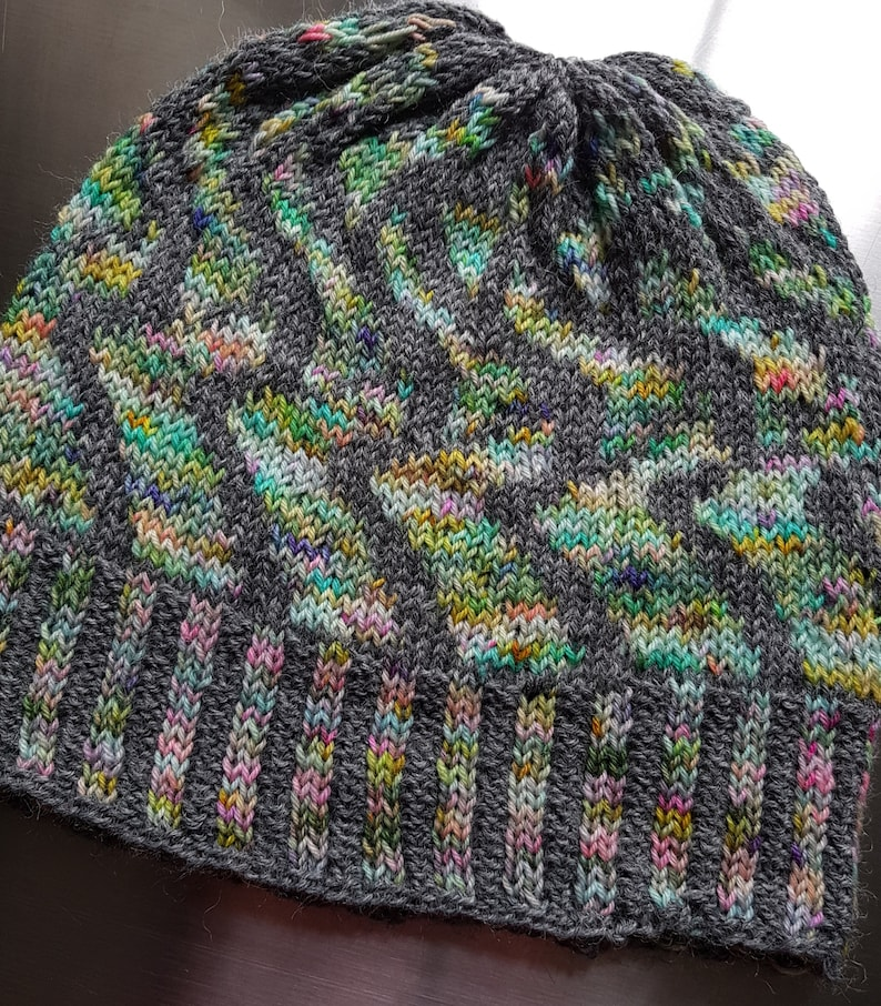 Twizzer  Hand Dyed Hand Knitted Beanie Hat   Fearless Yarn image 2