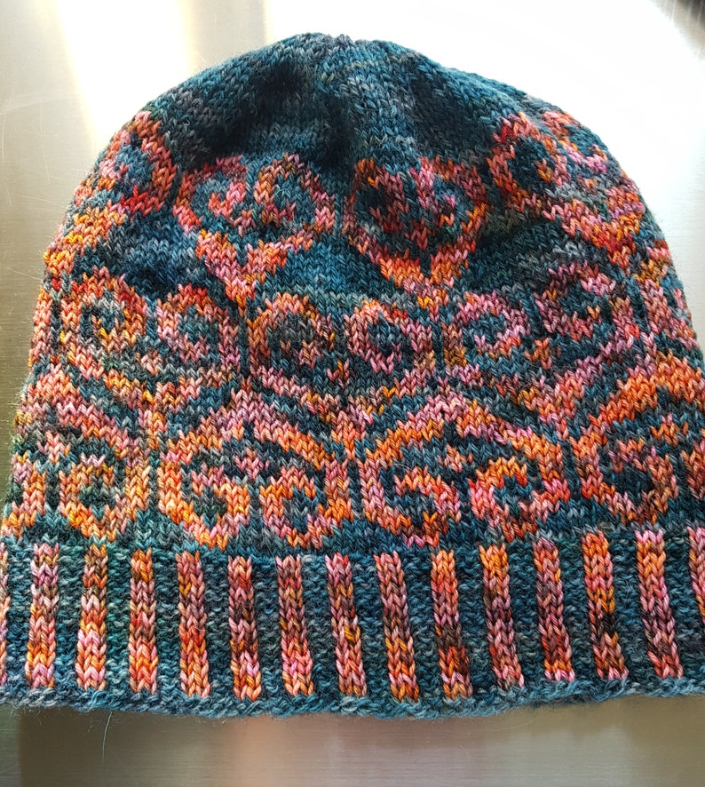 Celtic Hearts  Hand Dyed Hand Knitted Beanie Hat   Fearless image 0