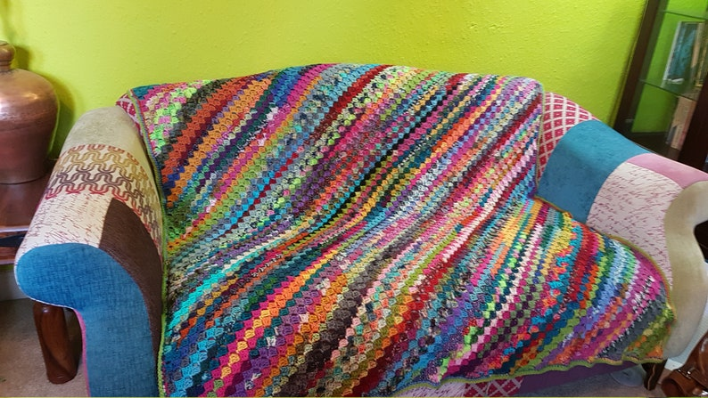 Diagonal C2C Large Crochet Wool Blanket Afghan Sock Yarn image 0