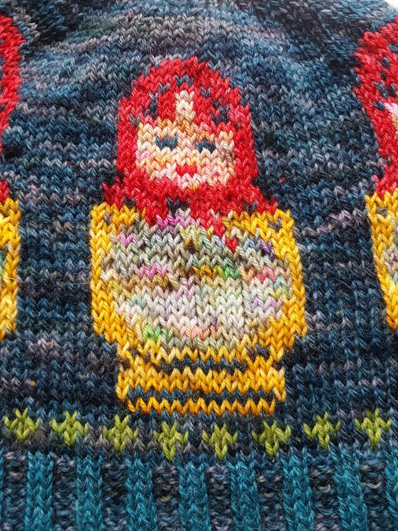 Matrioshka Russian Dolls Fair Isle Hand Knitted Beanie Hat image 3