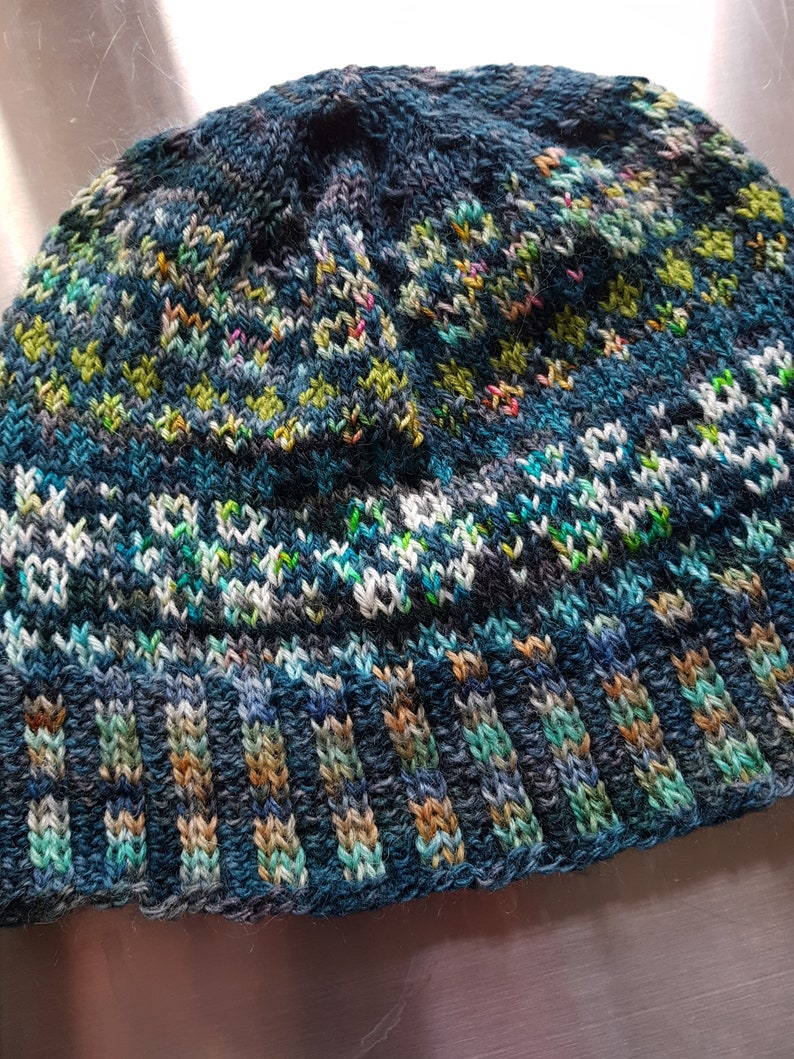 Merrie Dancers  Hand Dyed Hand Knitted Beanie Hat   Fearless image 0