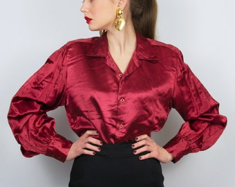 e491e00a2 Vintage Silky Blouse   Men's Shirt Red Satin Blouse V-Neck Blouse Red  Statement Top Red Silk Blouse Red Satin Shirt Feminine blouse