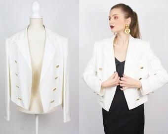 9ea9ae5a Vintage GIVENCHY blazer | Vintage White Blazer | Designer Vintage Couture  Designer Blazer Givenchy Jacket Linen Blazer Cropped Cape
