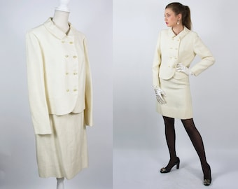 588be64cc Vintage White Suit Blazer and Skirt Classic Women Suit Dress White Skirt  Suit Jacket and Skirt Two Piece Dress Winter White Suit Small size