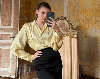 Vintage CACHAREL Blouse, Sorbet yellow Satin Blouse