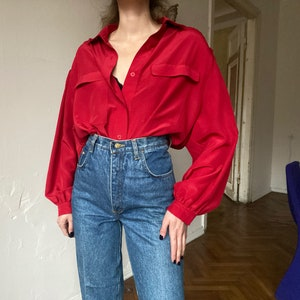 long sleeve silky 1940s style Vintage 1970s red blouse S M NOS tags retro disco