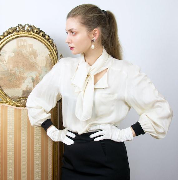 Vintage VALENTINO Silk Blouse, White Silk Tie Neck