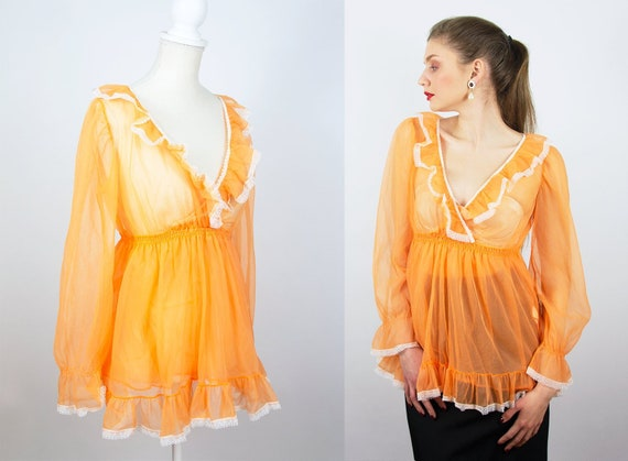 Vintage Sheer Blouse | Orange Blouse Chiffon Blous