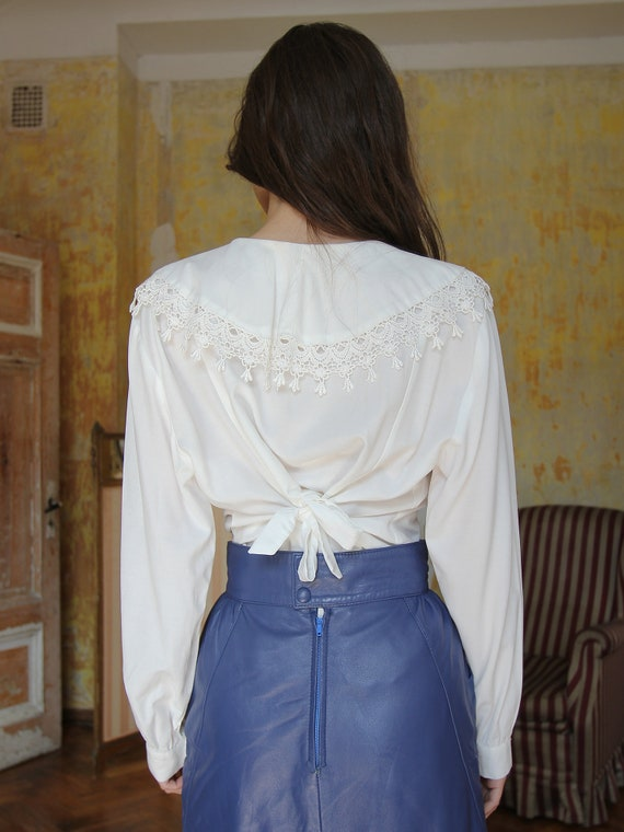 Vintage White Ruffle Blouse, Victorian Style Top - image 4