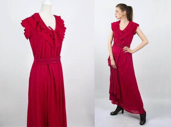 Vintage Ruffle Dress | Long Red Dress Sleeveless D
