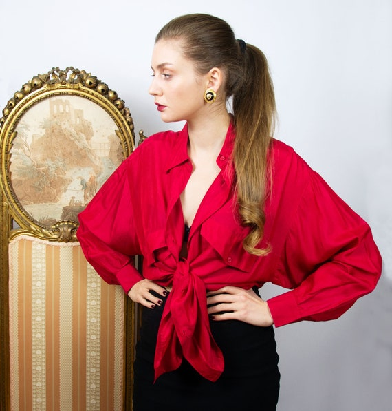 Vintage Red Silk Blouse, Oversized Red Long Sleeve
