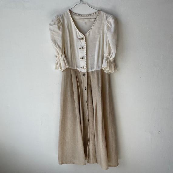 Vintage Linen Austrian Dress, Cottagecore dress w… - image 6