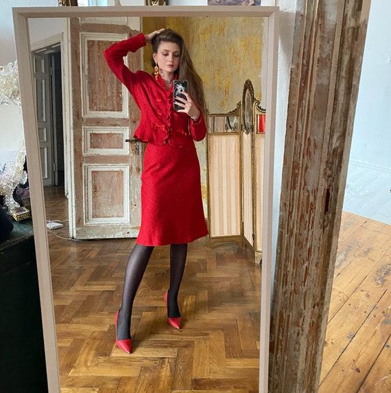 Vintage ESCADA Skirt Suit, Red Womens Suit