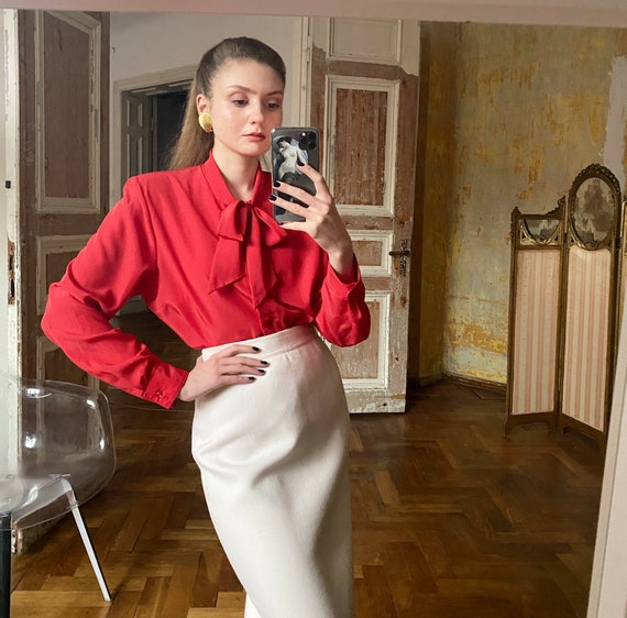 80s PussyBow Blouse, Red Satin Blouse