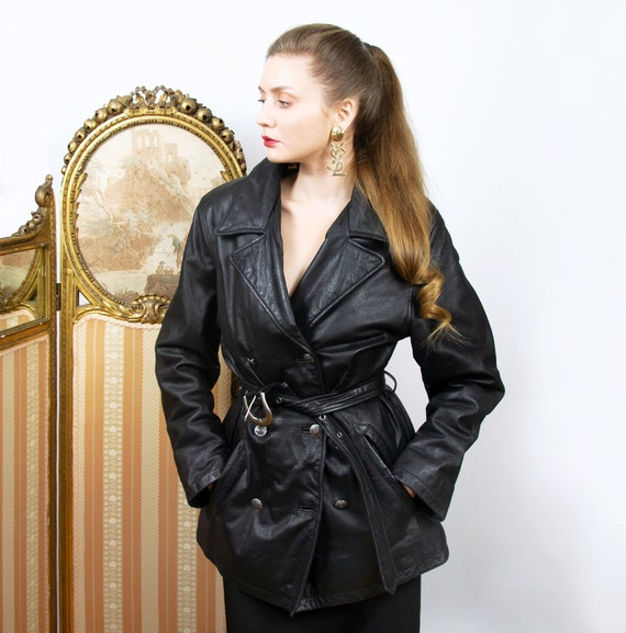 Vintage Leather Coat, Double Breasted Black Belted