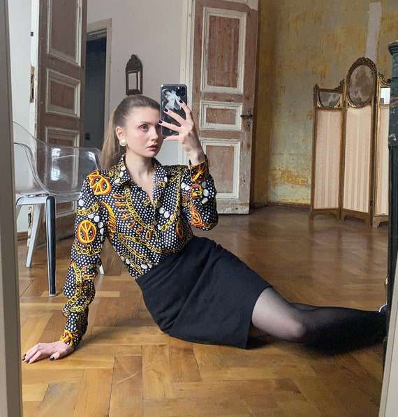 Silk MOSCHINO Blouse with print, Novelty Print Shi