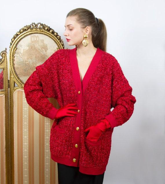 Vintage ESCADA Cardigan, Oversized Red Wool Cardig