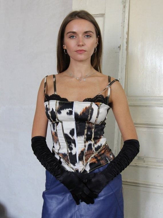 Vintage Just Cavalli Corset Top, Abstract Print Bu