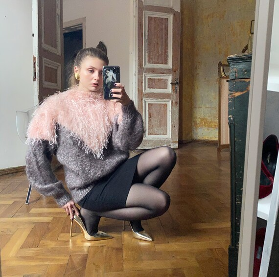 Vintage Oversized Sweater, 80s Fuzzy Mohair Sweate