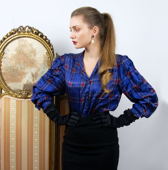 Vintage Silk Blouse, Blue Plaid Silk Puff Long Sle