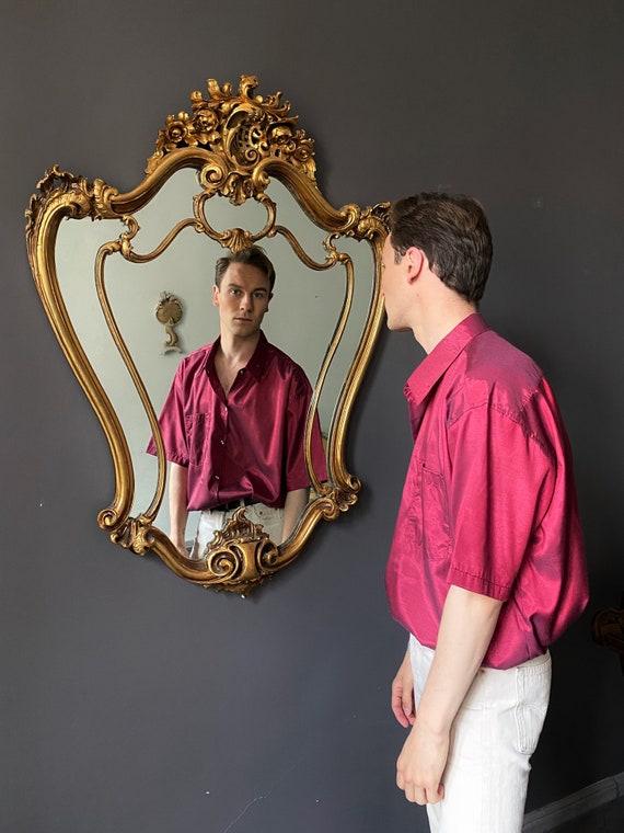 Vintage Silk Men's Shirt, Short Sleeve Burgundy To