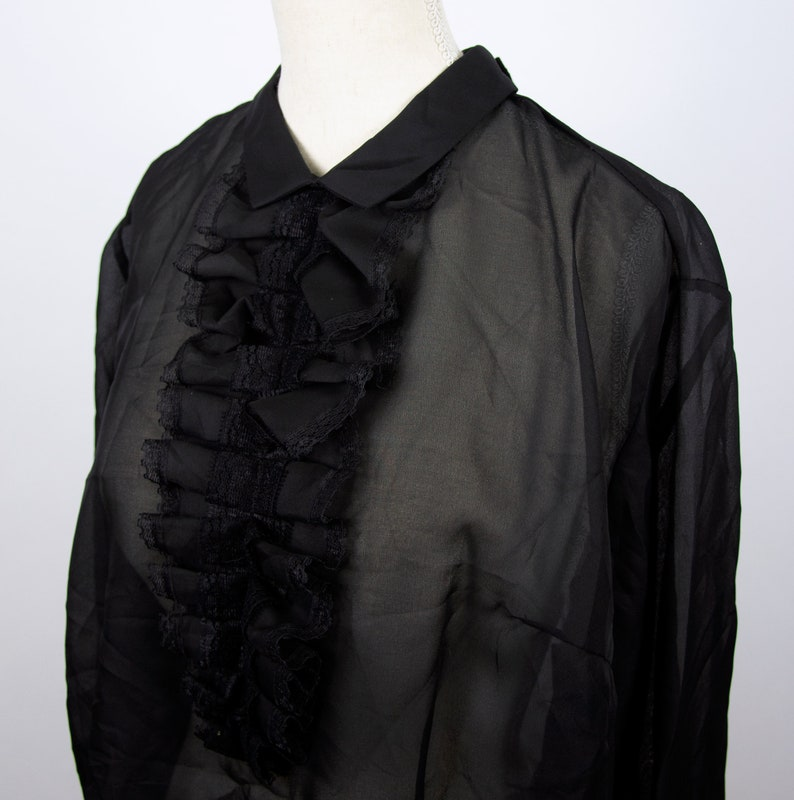 Vintage Black Sheer Organza Blouse with Ruffles Classy Black Formal Blouse See Through Top with Jabot
