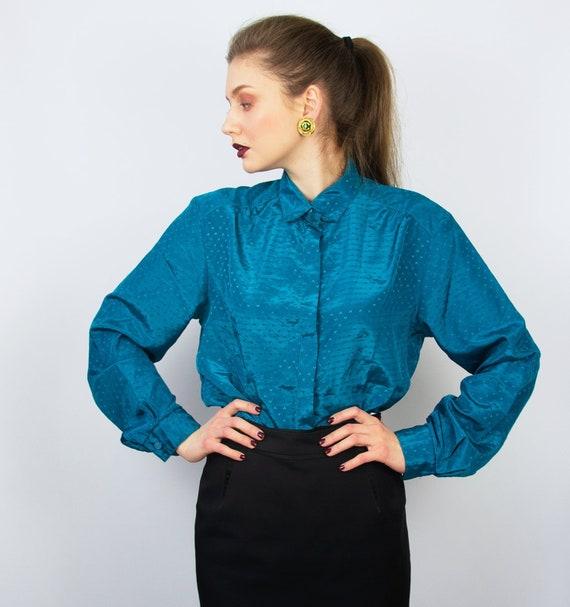 Vintage Blue Blouse   Turquoise Statement Blouse … - image 1