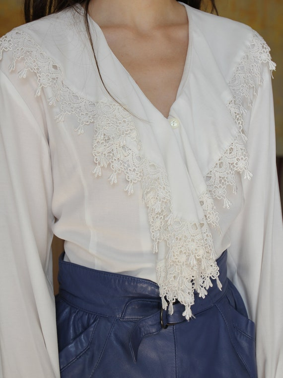 Vintage White Ruffle Blouse, Victorian Style Top - image 8