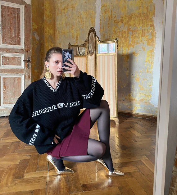 Vintage VERSACE sweater, Black Oversized Jumper