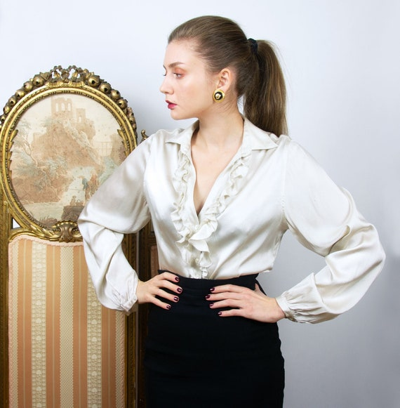 Vintage Silk Blouse with Ruffles, Ivory Silk Shirt