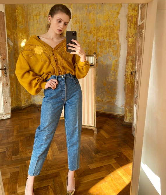 Vintage Mustard Yellow Cardigan, Oversized 80s car