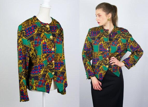 Vintage Baroque Print Jacket | Silk Jacket Quilted