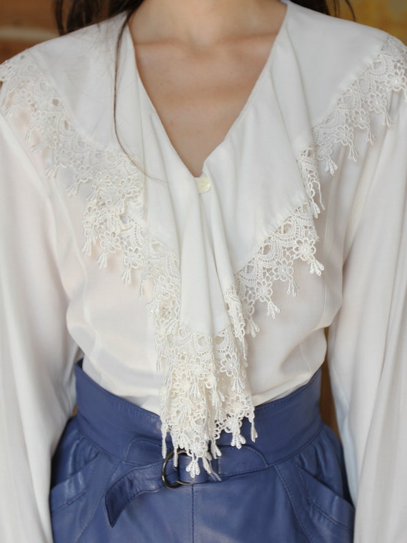 Vintage White Ruffle Blouse, Victorian Style Top - image 2
