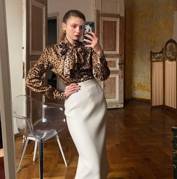 Leopard Dolce & Gabbana blouse, Satin Pussybow Blo